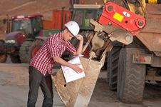 Architect Working Outdoors On A Construction Site Stock Photography