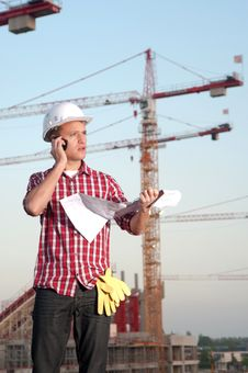 Architect Working Outdoors On A Construction Site Royalty Free Stock Photo
