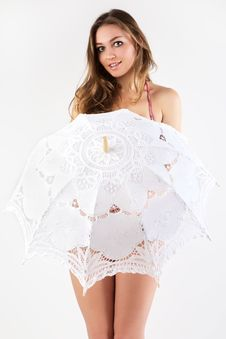 Free Beautiful Women With Knitted Umbrella. Stock Photo - 19172370