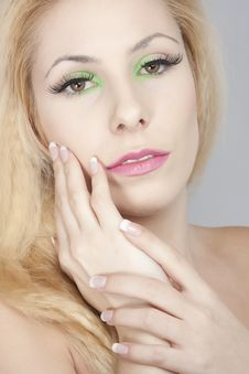 Beautiful Blond Girl, Joyful Colorl Makeup Stock Image