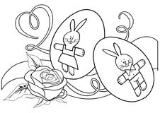 Free Monochrome Contour Illustration With Rose And Eggs Stock Photography - 19173132