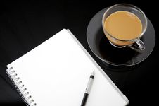 Free Clear Cup Of Coffee With Notebook Stock Image - 19174341
