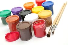 Paints And A Brush Stock Images