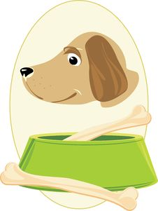 Free Doggy Muzzle And Bones In A Green Bowl. Sticker Royalty Free Stock Photo - 19175415