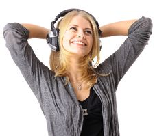 Free Young Girl Enjoys Listening Music Royalty Free Stock Image - 19176906