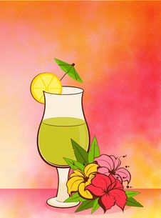 Fruits Cocktail With Flowers Royalty Free Stock Photos