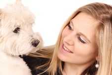 Free Blond Girl With Dog Royalty Free Stock Photography - 19177487