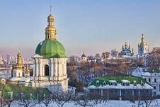 Kiev-Pechersk Lavra Monastery In Snow Stock Photos
