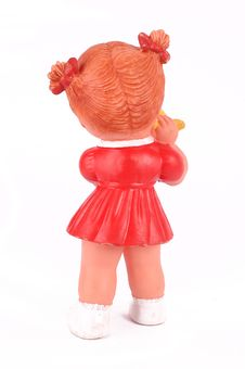 Rear Rubber Doll With Red Dress Royalty Free Stock Photos