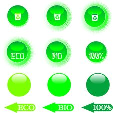Free Set Eco Green Buttons Royalty Free Stock Photo - 19178805