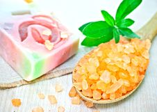 Sea Salt And Soap. Royalty Free Stock Photos