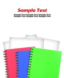Free Colored Notebook And White Paper Isolated Royalty Free Stock Images - 19179269