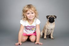 Free Little Girl Playing With Dog Royalty Free Stock Photos - 19179968