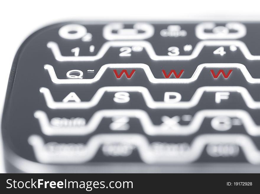 WWW in red on keyboard.