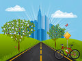 Free Summer Landscape With A Bike Royalty Free Stock Photography - 19183707