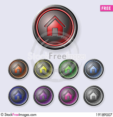 Free A Set Of Round Buttons Home Royalty Free Stock Photography - 19189007