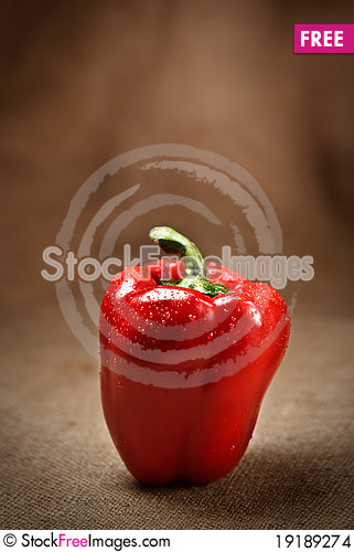 Free Fresh Red Pepper On Sacking Background Stock Images - 19189274