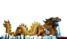 Crouching Dragon Statue With Isolated On White Stock Photos