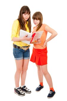 Free Two Schoolgirls Teenagers Read Something Royalty Free Stock Photos - 19181548