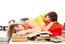Two Schoolgirls Were Tired Of Reading Books Royalty Free Stock Images
