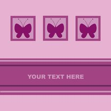 Free Cute Butterfly Card Royalty Free Stock Image - 19181646
