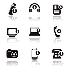 Free Black Technology With Arrows Icons Stock Photo - 19181670