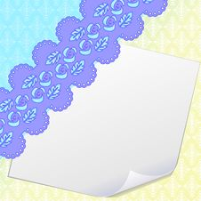 Free Blank Sheet Of Paper And Damask Royalty Free Stock Images - 19181789
