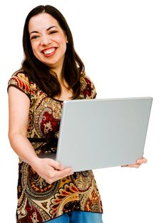 Free Woman Using A Laptop Royalty Free Stock Photography - 19182367