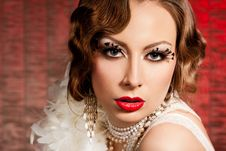 Free Woman With Art Visage - Burlesque Royalty Free Stock Photography - 19183467