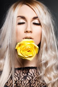 Elegant Woman With Rose Royalty Free Stock Image