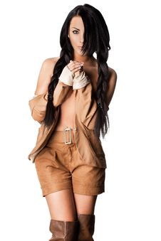 Free Fashionable Woman In Brown Wear Stock Photography - 19183682
