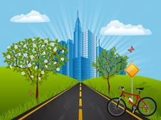 Summer Landscape With A Bike Royalty Free Stock Photography
