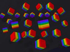 Rainbow Cubes Stock Images
