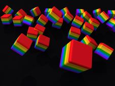 Free Rainbow Cubes Royalty Free Stock Images - 19184329