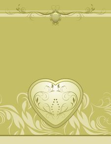 Free Heart On The Decorative Retro Background Royalty Free Stock Images - 19184909