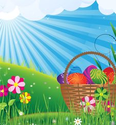 Free Basket Of Eggs In The Meadow Royalty Free Stock Photos - 19186228