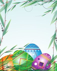 Free Green Branches And Bright Easter Eggs Stock Image - 19186231