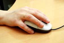 Computer Mouse With Hand Royalty Free Stock Image