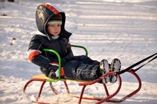 Free Boy  Sledding Royalty Free Stock Photo - 19187195