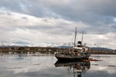 An Abandoned Ship In The Bay Of Ushuaia Royalty Free Stock Images
