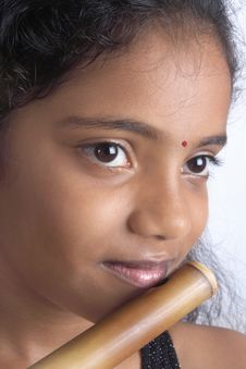 Teenage Girl With Flute Royalty Free Stock Photo