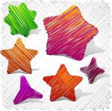 Free Scribbled Stars Shapes. Royalty Free Stock Photos - 19188798