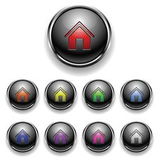 A Set Of Round Buttons Home Royalty Free Stock Photo