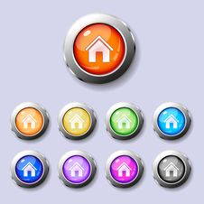 Free A Set Of Round Buttons Home Royalty Free Stock Photos - 19188998