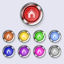Free A Set Of Round Buttons Home Stock Image - 19189001