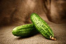 Free Fresh Cucumbers On The Sacking Background Royalty Free Stock Photo - 19189895