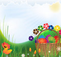 Free Wattled Basket With Easter Eggs Stock Photos - 19195443