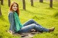 Free Beautiful Girl Sitting At Green Grass At Park. Stock Photography - 19199702