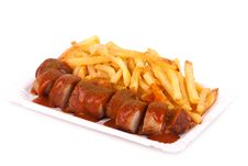 Free Curried Sausage And Chips Royalty Free Stock Photo - 19190335