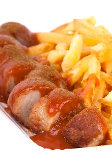Free Curried Sausage And Chips Stock Photo - 19190340
